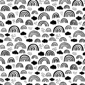 Black and white Scandinavian abstract rainbow clouds happy rain sky gender neutral SMALL
