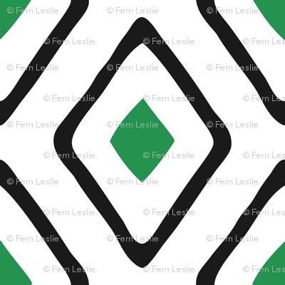 Diamond in Diamond - Jumbo - Green, White, Black