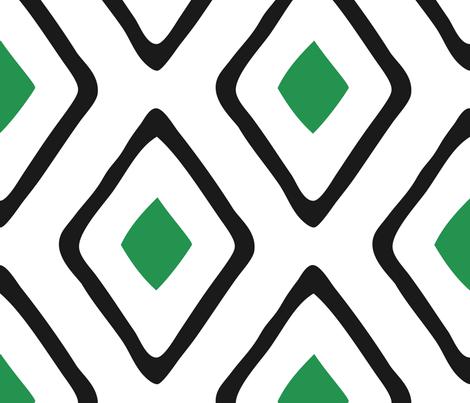 Diamond in Diamond - Jumbo - Green, White, Black fabric by fernlesliestudio on Spoonflower - custom fabric