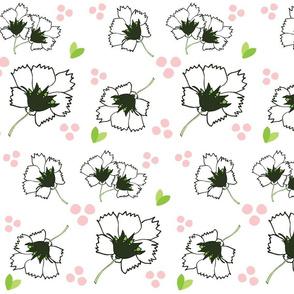 Spring blooms LARGE 105- white black  pink