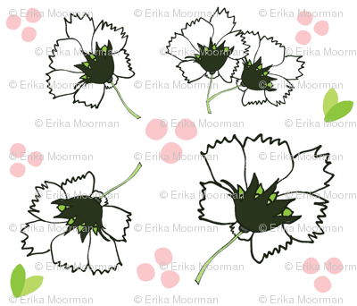 Spring blooms MED7- white black  pink