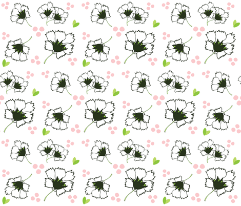 Spring blooms MED7- white black  pink fabric by drapestudio on Spoonflower - custom fabric