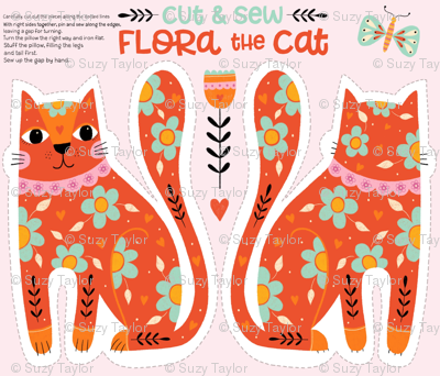 Flora the Cat - cut & sew