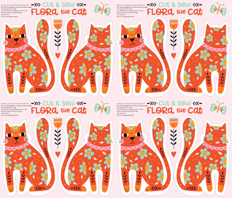 Flora the Cat - cut & sew fabric by suzytaylordesigns on Spoonflower - custom fabric