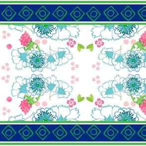 Spring blooms blue garden Mirror LARGE 105