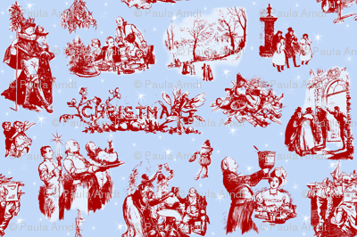 Good Cheer Christmas Toile blueberry 1