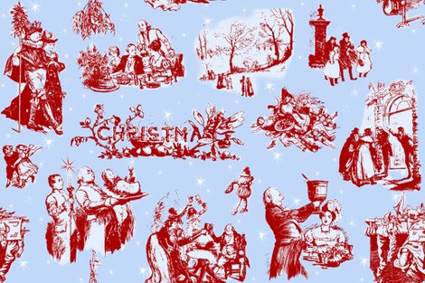 Good Cheer Christmas Toile blueberry 1 fabric by lilyoake on Spoonflower - custom fabric