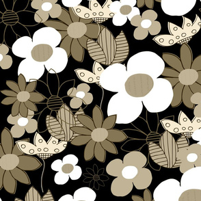 Retro Summer Flowers Large Blossom Golden