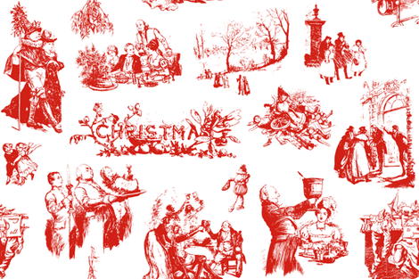 Good Cheer Christmas Toile strawberry 1 fabric by lilyoake on Spoonflower - custom fabric