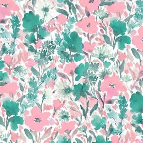 Wild Garden Pink and Green on White