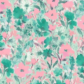 Wild Garden Pink and Green on Green