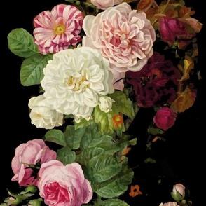 dark roses on black floral moody florall vintage roses MEDIUM SCALE