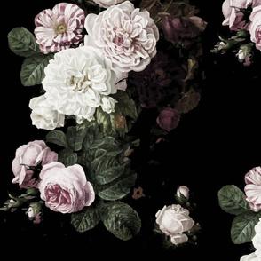 Vintage roses jumbo scale dark floral black