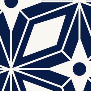 Starburst - Midcentury Modern Geometric Navy Jumbo Scale