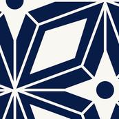 Starburst - Midcentury Modern Geometric Navy Large Scale