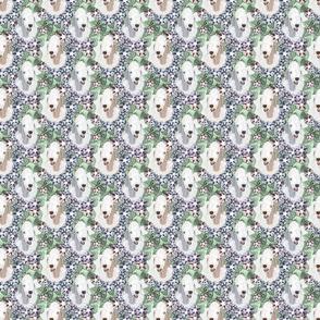 Floral Bedlington Terrier portraits - small