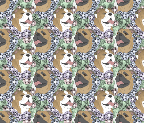 Floral Bulldog portraits B fabric by rusticcorgi on Spoonflower - custom fabric