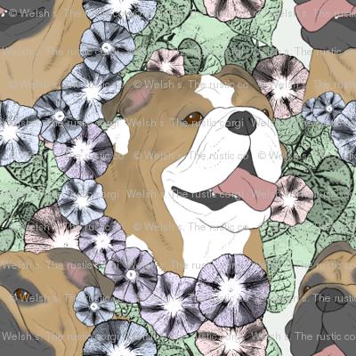Floral Bulldog portraits B - small