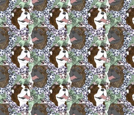 Floral Bulldog portraits D fabric by rusticcorgi on Spoonflower - custom fabric