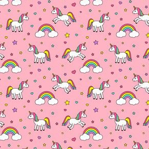 (extra small) Unicorns With Rainbows (bright) on pink C18BS