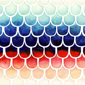Retro Rainbow Mermaid Scales