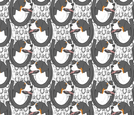Greater Swiss Mountain Dog horseshoe portraits fabric by rusticcorgi on Spoonflower - custom fabric