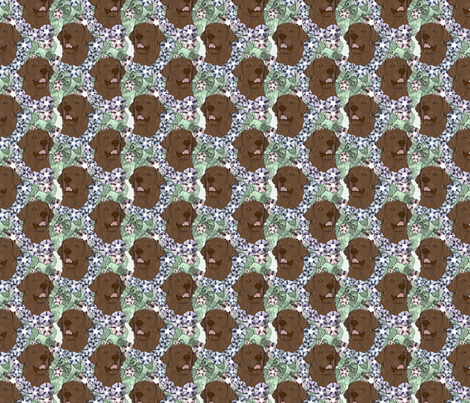 Floral chocolate Labrador Retriever portraits - small fabric by rusticcorgi on Spoonflower - custom fabric