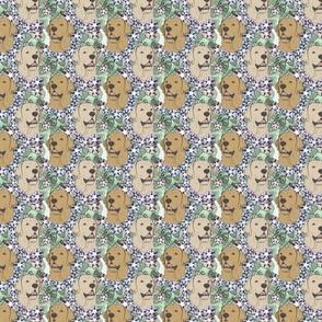 Floral yellow Labrador Retriever portraits - small