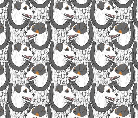 Smooth coat Jack Russell terrier horseshoe portraits B fabric by rusticcorgi on Spoonflower - custom fabric
