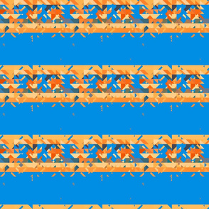 Orange Tribal Stripes on Blue