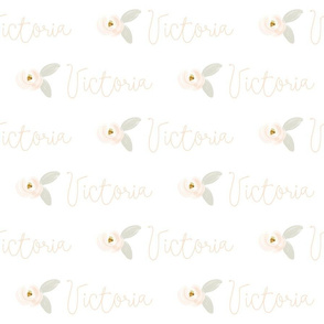 Personalized Peach + Gray Rosette // Victoria