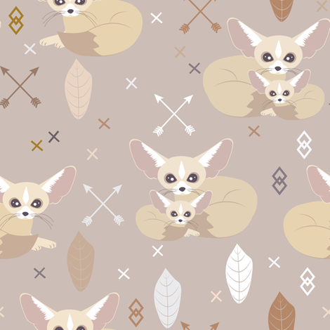 Fennec Foxes Arrows and Feathers fabric by jannasalak on Spoonflower - custom fabric