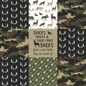 Little Man - Ducks, Trucks, and Eight Point Bucks - Woodland wholecloth Camo - C2 C18BS