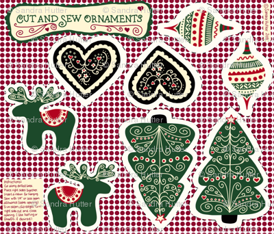 Cut and Sew Christmas Ornaments - Scandinavian Style.