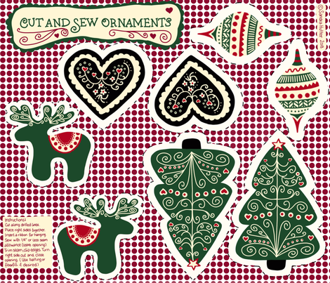 Cut and Sew Christmas Ornaments - Scandinavian Style. fabric by sandra_hutter_designs on Spoonflower - custom fabric