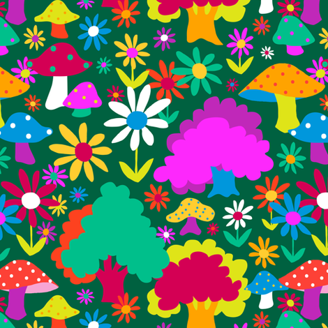 60's Funky Forest in Evergreen fabric by elliottdesignfactory on Spoonflower - custom fabric