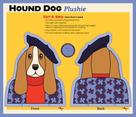 Hound Dog Plushie 2_21x18 fabric by kimberly_guccione on Spoonflower - custom fabric