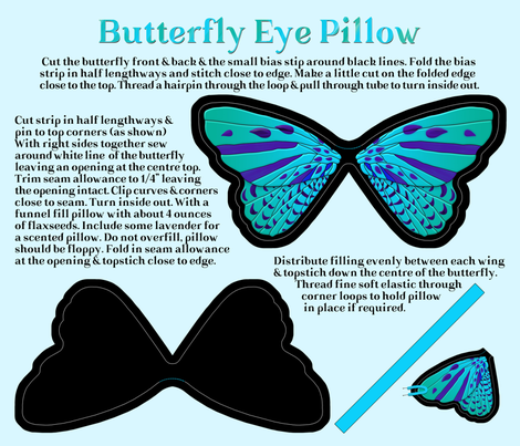 Butterfly Eye Pillow Cut and Sew fabric by j9design on Spoonflower - custom fabric