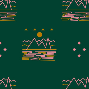 Sea to Sky Minimalist Aztec in Green and Pink