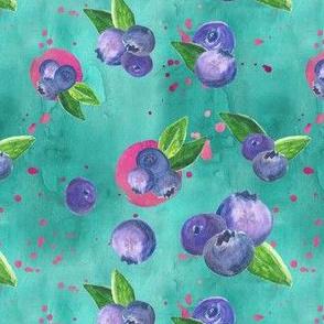 Juicy Blueberries in Teal