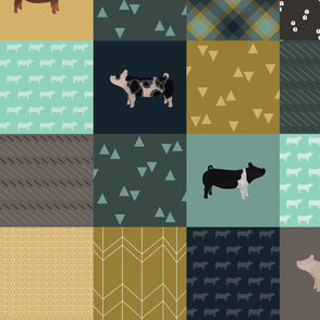 LARGE - Pig Cheater Quilt - Teal
