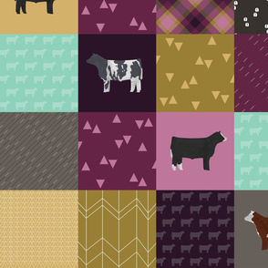 LARGE - Steer Cheater Quilt - Plum