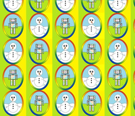 Geometric Snow & Robot Fun fabric by b2b on Spoonflower - custom fabric