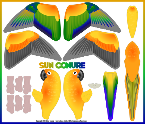Sun Conure (Basic) fabric by silver_seams on Spoonflower - custom fabric