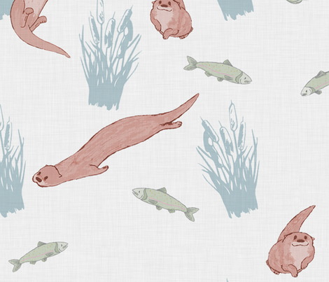 River Otters Swimming in the River fabric by manondelart on Spoonflower - custom fabric