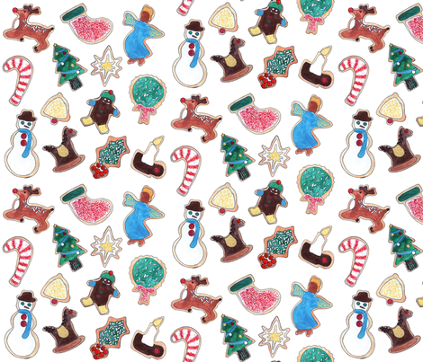 Watercolor Christmas Cookies fabric by paintedwit on Spoonflower - custom fabric