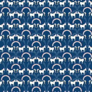 Unicorns Pooping Glitter- on dark blue