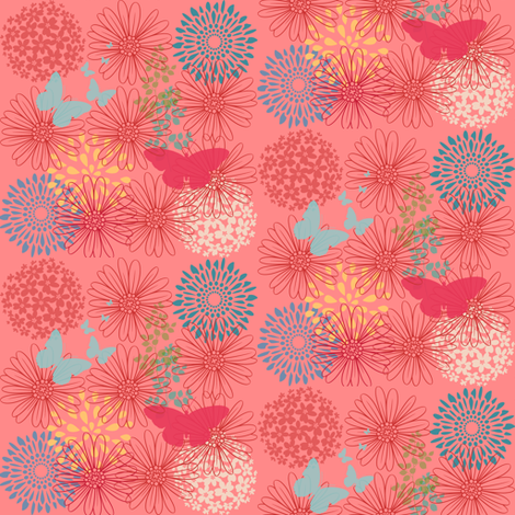 Coral Floral fabric by lerelle_designs on Spoonflower - custom fabric