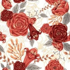 Vintage Red Flower Bouquet
