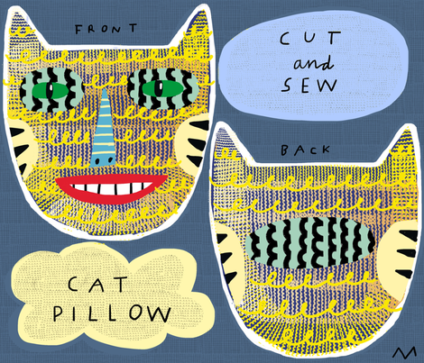 "10"" Tiger Cat Pillow fabric by kimmurton on Spoonflower - custom fabric"